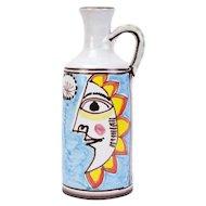 Desimone Mid-Century Modern Italian Art Pottery Carafe Vase Sailor & Sun