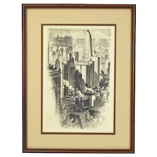 1930 Chicago Skyline 35 East Wacker Building Alonzo Webb Etching