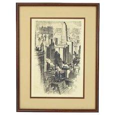 1930 Chicago Skyline 35 East Wacker Building Alonzo Webb Etching