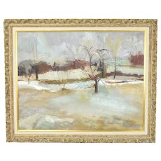 Mid-Century Modern Abstract Landscape Oil Painting Lilian Banish Chicago