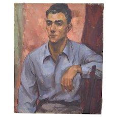 1940's Oil Painting Portrait of Handsome Man in Gabardine Shirt
