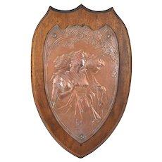 Antique English Art Nouveau Iron Plaque Three Graces Jones & Attwood