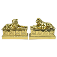 Vintage Pair Brass Figural Fireplace Chenets English Mastiff Dogs