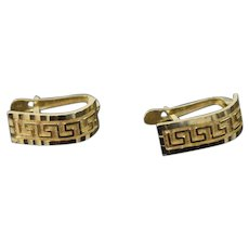 Vintage Pair 14k solid Gold Earrings Neo-Classical Greek Key Design
