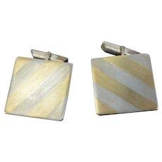Pair Vintage Mid-Century Modern 14k Yellow Gold Inlaid Sterling Silver Cufflinks