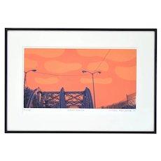 Hiroshi Ariyama L/E Screenprint Industrial Chicago Scene Division Halsted Bridge