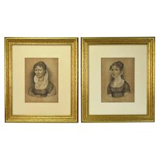 Pair German Charcoal Drawings Berensbach Kellerman Women Empire Style Clothing