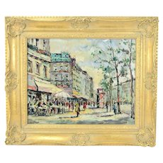 Andre Picot Impressionist Oil Painting Paris Street Scene w Cafes Pedestrians
