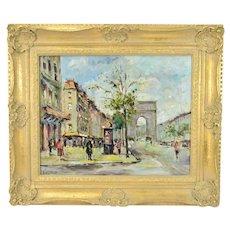 Andre Picot Impressionist Oil Painting Paris Street Scene w Arc de Triomphe