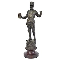 19th Century Spelter Bronze Sculpture European Miner with Hand Lamp