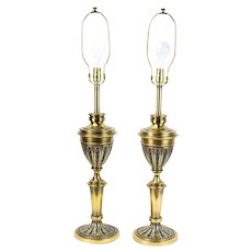 Pair Stiffel Mid-Century Cup & Cover Brass Chalice Brass Black Enamel Table Lamps