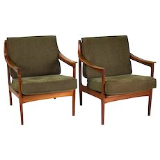 Pair of Vintage Danish Modern Teak Armchairs Lounge Chairs