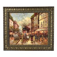 Impressionist Oil Painting Belle Epoque Parisian Street Scene by Martin