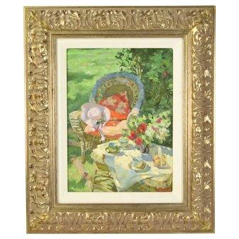 Oksana Gurtovaia Ukranian Impressionist Oil Painting Tea on the Patio