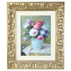 Impressionist Textured Oil Painting Floral Still Life by A. Jones