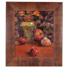 Impressionist Oil Painting Still Life with Vegetables by N. Harper