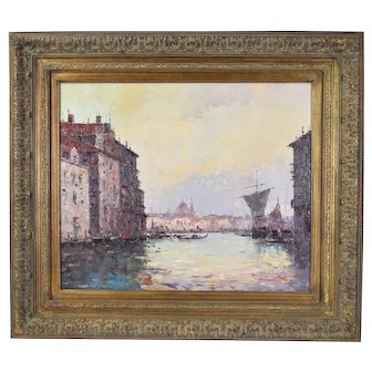 Impressionist Oil Painting Venetian Canals w Santa Maria della Salute by Morgan