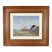 Impressionist Oil Painting European Fishing Village by Morgan
