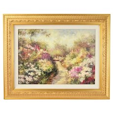 Impressionist Oil Painting Lush Flower Garden by Crowell