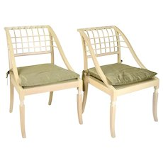 Pair Vintage Saladino Paint-Rubbed Beech Sleigh Chairs Silk Cushions