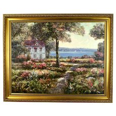 Impressionist Oil Painting Lakeside Cottage Landscape w Sailboats by Phillipson