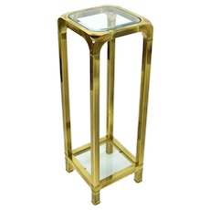 Vintage Modern Brass Pedestal Sculpture or Plant Stand Beveled Glass