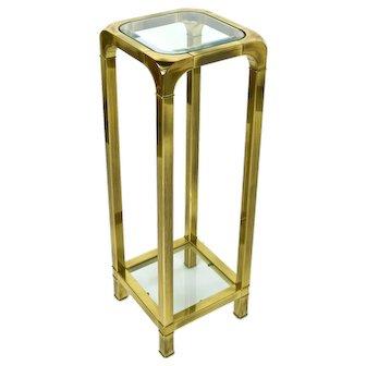 Vintage Modern Brass Pedestal Sculpture or Plant Stand Beveled Glass