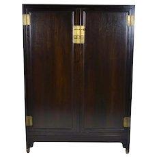 Baker Furniture Co. Mid-Century Asian Style Ebonized Wardrobe Cabinet