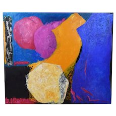1990 Mitzi Prince Large Abstract Expressionist Oil Painting Houston Artist