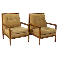 Vintage Pair of Modern Hickory Armchairs Lounges Tan Upholstery