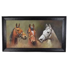Vintage Equestrian Oil Painting Three Horse Heads