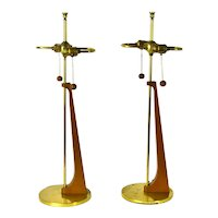 Pair Sculptural Vintage Mid Century Modern Double Socket Table Lamps Walnut and Brass