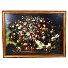 Vintage Italian Floral Still Life Painting with Fiorentino Pigeons signed Pama