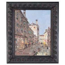 Impressionist Oil Painting European Street Scene by Morgan
