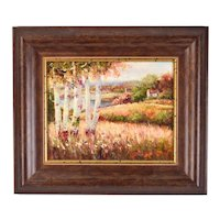Impressionist Oil Painting Landscape Lakeside Cottage with Birch Trees by F. Jacobs