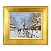 "1950's French Impressionist Oil Painting ""Les Escalier Hivre"" sgnd Arsene Henri"