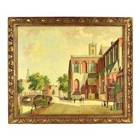 Vintage Mid Century Oil Painting Dutch Street Scene w Figures sgnd Vreugdenhil