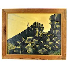 Vintage Mid-Century Modern Cubist Mountains with Legionnaire Oil Painting