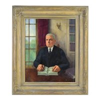1933 Depression era Oil Painting Portrait Gentleman Reading at Desk sgd Sam Heller