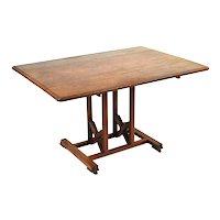 Antique English Oak Dropleaf Dining or Work Table w Unusual Trestle Base