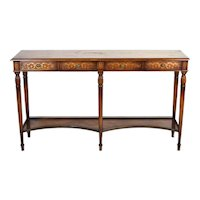 Vintage English Edwardian Style 4-Drawer Console Hall Table with shelf below