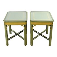 Vintage Green and Gold Painted Occasional Tables w Glass Top X-Stretcher Bases
