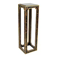 Vintage Chinese Black Lacquer Raised Chinoiserie Decoration Pedestal Sculpture Stand