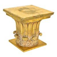 Vintage Gold Corinthian Column Capital End Table Pedestal Stand