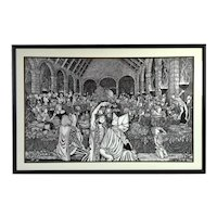 "1978 L/E Lithograph ""Ariel's Feast"" Medieval Hall signed Bob Morrow"