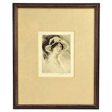 1920's Etching Portrait Woman in Summer Hat & Dress Arthur Garratt