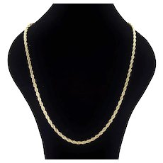 Elegant Vintage Italian 14k Solid Gold Twisted Rope Necklace 23.5in