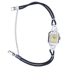 Vintage Art Deco Hamilton 14k White Gold Diamond Encrusted Ladies Wrist Watch