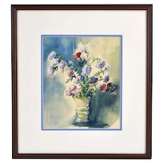 Vintage 1960's Watercolor Floral Still Life Painting Signed