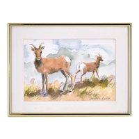 Vintage Watercolor Painting Big Horn Sheep Mount Evans Colorado signed Hamity